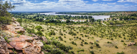 Limpopo river boundary with Zimbabwe in Mapungubwe National Park, South Africa