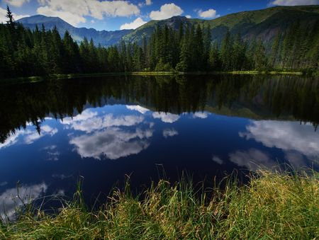 trecking: Pond in polish mountains Tatry
