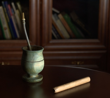 Yerba mate and cigar for relaxation Stock Photo