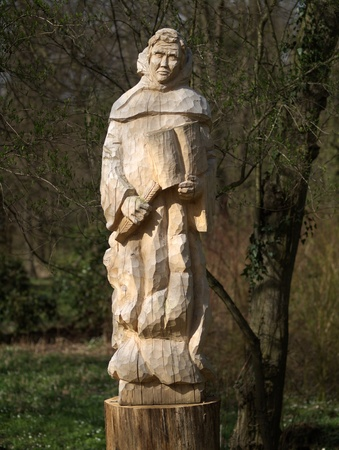 rudy: Rudy, Poland- April 10, 2011- Sculpture of cistercian made of wood in Rudy