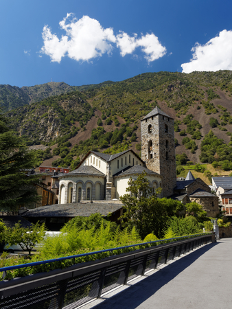 The antique Church in Andorra, county in Pyrenees Stock Photo