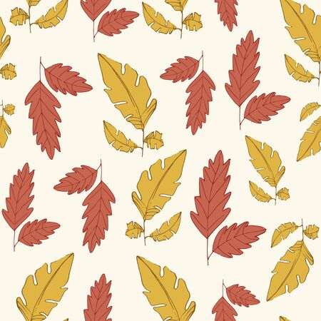 fall leaves yellow and red seamless pattern Ilustracja