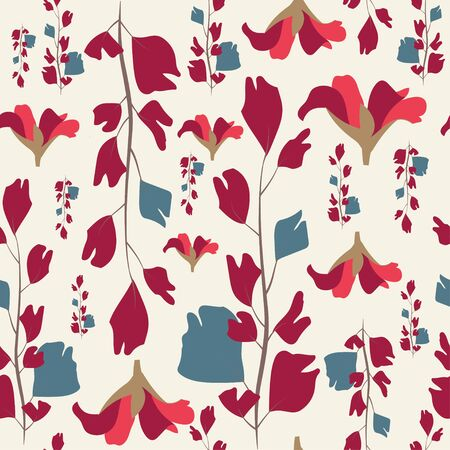 red ginkgo leaves and flowers seamless pattern design