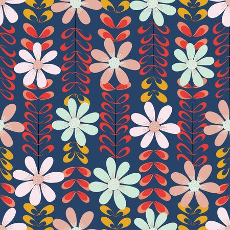 Big floral design over decorative leaves. A seamless repeat pattern tile.