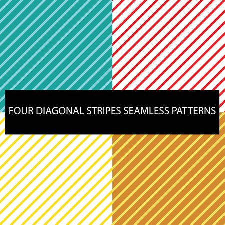 A set of four different colored diagonal stripe tiles. They can be repeated from all sides.  イラスト・ベクター素材