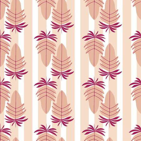 simplified leaf forms over stripes, a seamless pattern best for festive season.