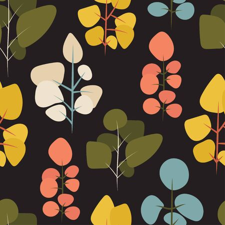 colorful vector trees over black background in a seamless repeat pattern. A vector file which can be adjusted after download. Ilustracja