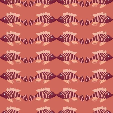 A blender repeat print tile of fish in peach and purple color scheme. It is a vector pattern.