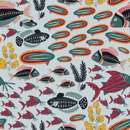 colorful decorative fish pattern which repeats from all sides in a vector format. Ilustracja