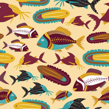 golden brown decorative fish vector pattern which repeats from all sides in a seamless manner. Ilustracja