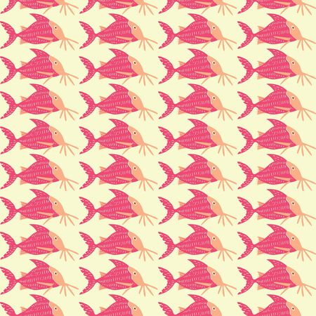 Pink catfish in a repeat pattern design.