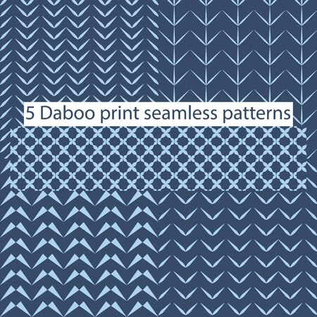 Five dabu print tiles in one vector file which is a seamless repeat pattern.