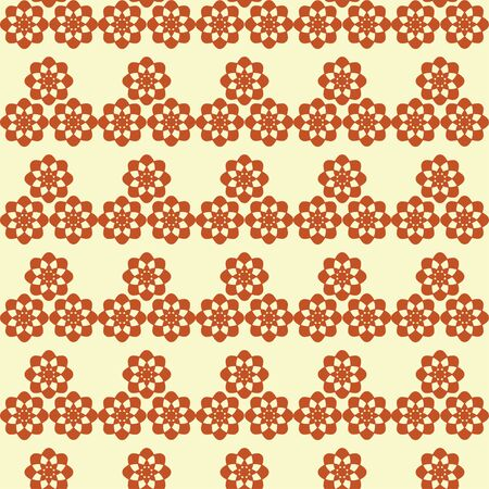 Vector repeat pattern of geometric flower in brown and yellow colors.