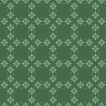 A geometric green pattern tile made out of simple vector snowflakes. Ilustracja
