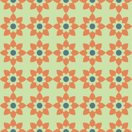 orange geometric pattern tile in a grid format, ideal for clothing and related surfaces.