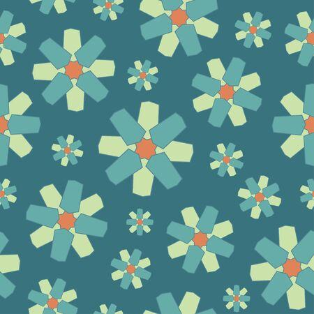 blue geometric flowers repeat pattern tile. Ilustracja