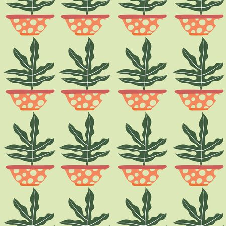 Green decorative plant seamless repeat pattern tile.