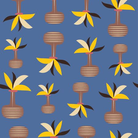 Potted yellow plants over blue background repeat seamless pattern tile.