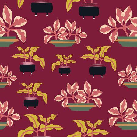 Decorative potted plants repeat pattern tile. Ilustracja