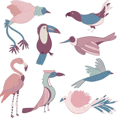 Purple and blue colored exotic birds vector sheet Ilustracja