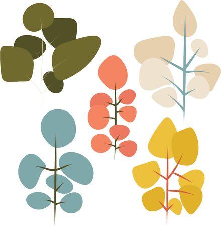 Vector trees simple uni-color clip art.