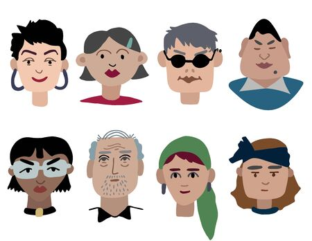 Vector funky faces with different headgear and accessories. Ilustracja