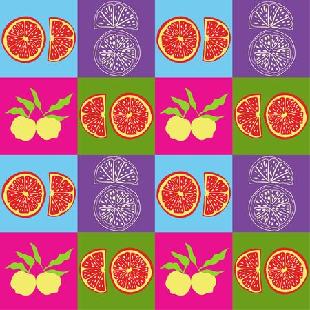 pop art inspired seamless pattern with citrus fruit forms.
