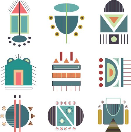 vector tribal icon set. A colorful geometric icon vector file.