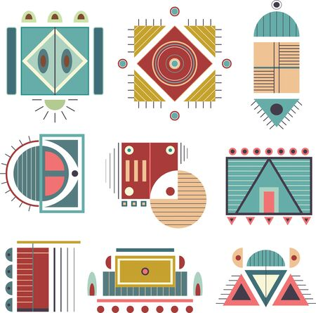 Eight vector tribal icons. Geometric vector icons file.