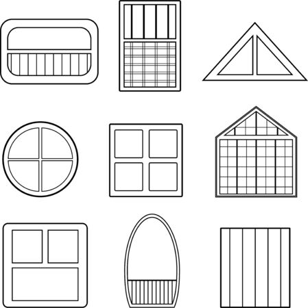 Linear vector windows drawing, a file of eight window drawings.