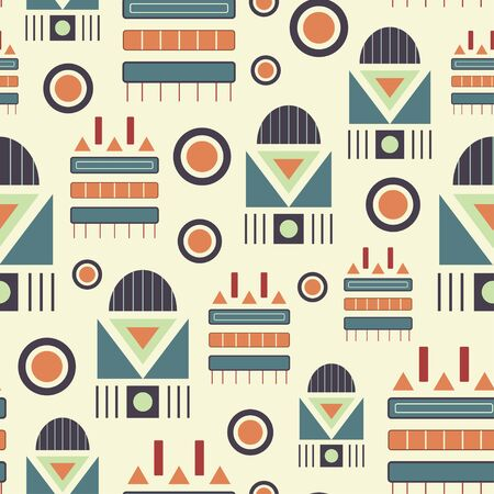 Geometric vector tribal seamless repeat pattern tile