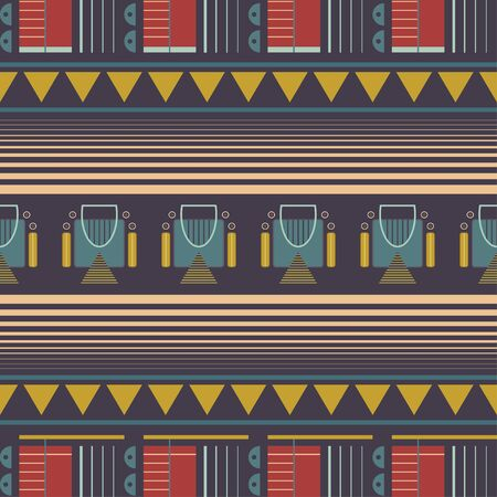Dark themed vector geometric tribal seamless pattern. Ilustracja