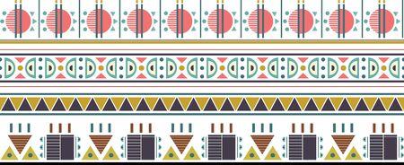 four colorful vector borders. Geometric vector tribal borders. Ilustracja