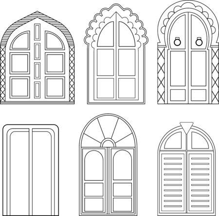 Porte vettoriali decorative. Sei disegni lineari di porte decorative in stile Mughal.