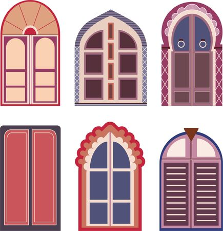Decorative colored vector doors. Mughal styled vector doors.
