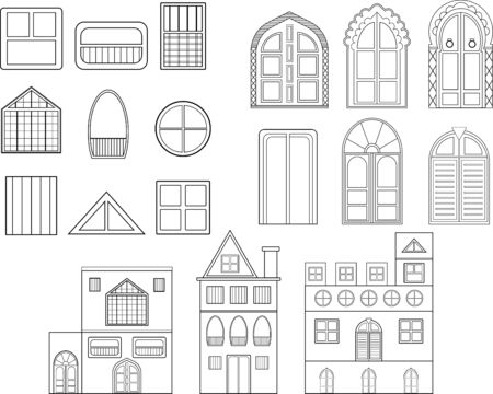 Set of vector linear drawings of buildings which contains doors, windows and buildings.