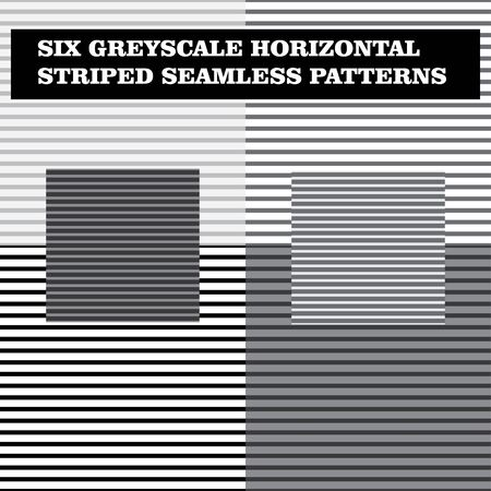 A vector file of six greyscale horizontal striped seamless patterns.