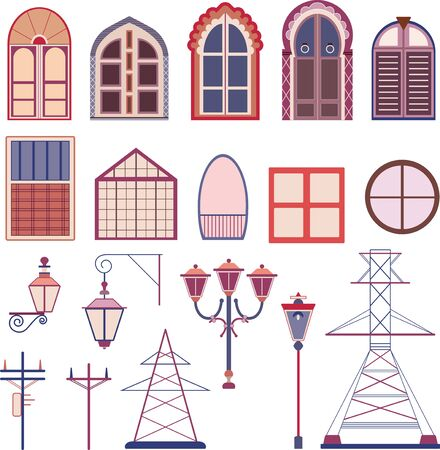 Colorful vector drawings of doors, windows, street lamps and electricity poles. Ilustracja
