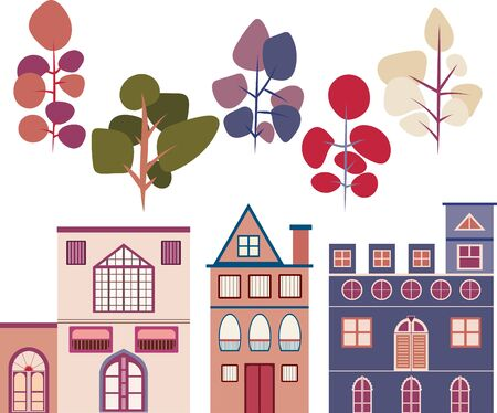 Colored vectors of urban buildings and simple vector trees. Ilustracja