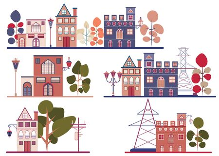 Five vector landscape setups which include forms of buildings, trees, street lamps and electricity poles.