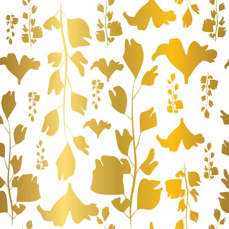 Vector gold foil textured ginkgo leaves seamless repeat pattern tile.