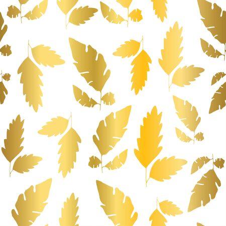 Gold foil textured fall leaf seamless patterns. Ilustracja