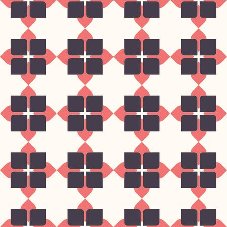 Pink geometric simple grid seamless vector pattern.