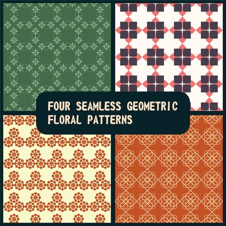 Four geometric floral vector seamless repeat patterns.