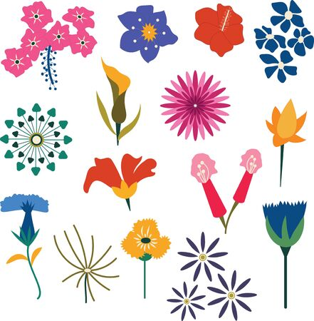 A set of 15 decorative vector flower set.