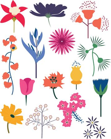A set of 15 decorative and colorful vector flower set. Ilustracja