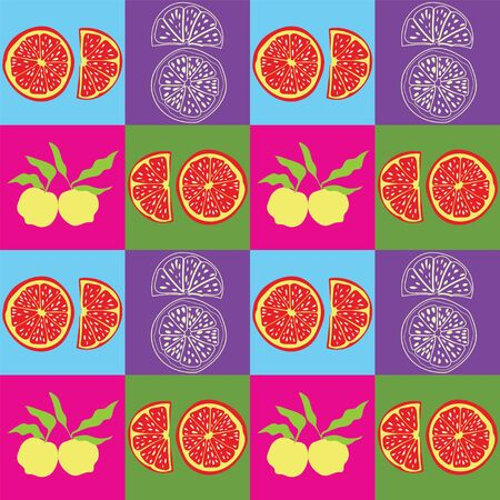 Multicolored Pop art inspired seamless pattern with citrus fruits.