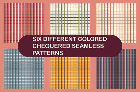 Checkered seamless patterns. Six vector tiles of checkered seamless patterns.