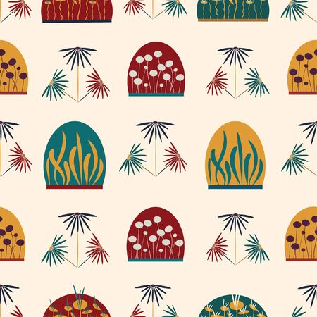 Floral terrariums vector seamless repeat pattern tile.