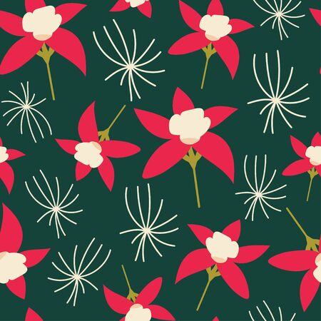 Christmas inspired red and green colored seamless pattern tile. Ilustracja